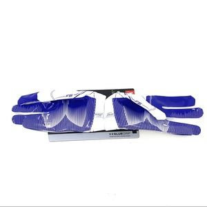 White/Blue Under Armour UA F6 Football Gloves